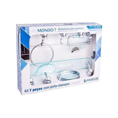 Imagem de Kit de Acessórios para Banheiro Mondo com 7 Peças Verde