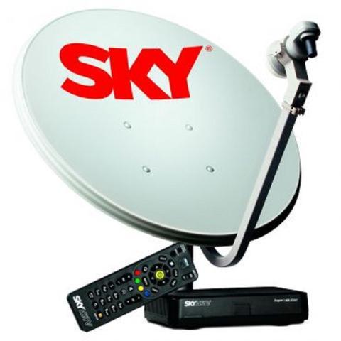 Imagem de Kit de Antena Parabólica Sky 60 cm + Receptor Digital Sky Pré-Pago Flex HD