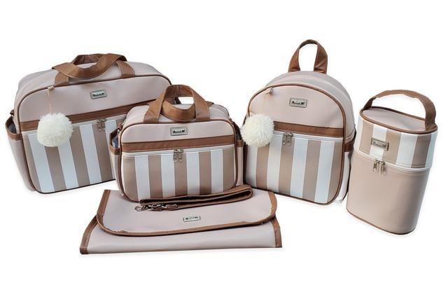 Imagem de Kit de Bolsas Maternidade com Mochila Listrada Térmico Impermeável