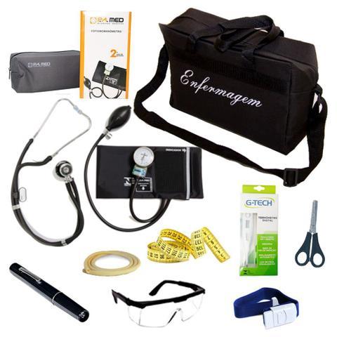 Imagem de Kit de Bolso da Enfermagem Com Aparelho De Pressão Estetoscópio Duplo Lanterna Clínica Bolsa Preta