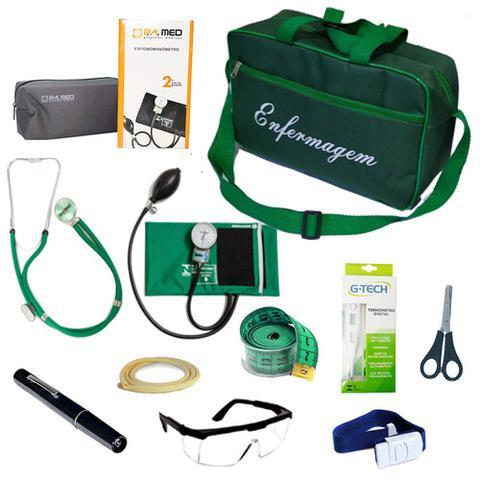Imagem de Kit de Bolso da Enfermagem Com Aparelho De Pressão Estetoscópio Duplo Lanterna Clínica Bolsa Verde