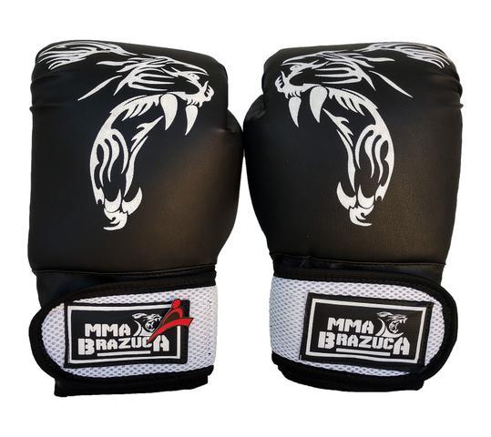 70a1a21b26 Kit de Boxe   Muay Thai 12oz - Preto com Branco - MMA Brazuka - Kit ...