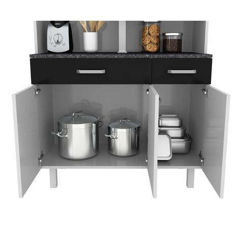 Imagem de Kit de Cozinha Atenas Branco com Preto 6 portas - Madine Móveis