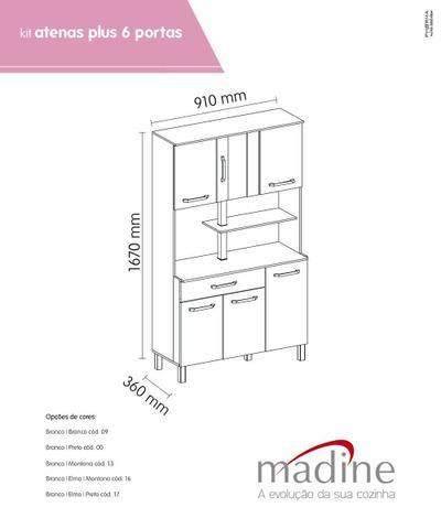 Imagem de Kit de Cozinha Atenas Branco Montana 6 portas - Madine Móveis
