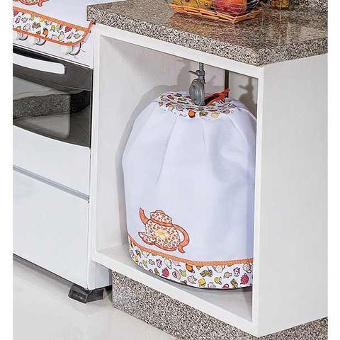 Imagem de Kit de Cozinha c/ Cortina Joy 10 peças Bordado - Bule Laranja