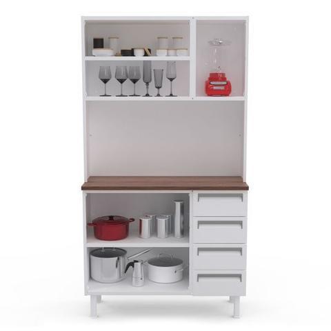 Imagem de Kit de Cozinha Colormaq Roma 5 Portas e 4 Gavetas em Aço Branco e Madeira