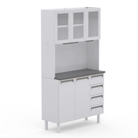 Imagem de Kit de Cozinha Colormaq Roma 5 Portas e 4 Gavetas em Aço e Vidro Branco e Grafito