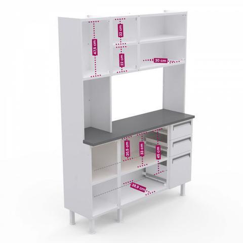 Imagem de Kit de Cozinha Colormaq Roma 7 Portas, 2 Gavetas e 1 Gavetão em Aço e Vidro Branco e Grafito