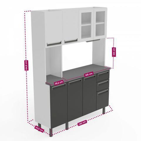 Imagem de Kit de Cozinha Colormaq Roma 7 Portas, 2 Gavetas e 1 Gavetão em Aço e Vidro Grafito e Grafito