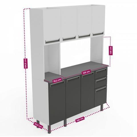 Imagem de Kit de Cozinha Colormaq Roma 7 Portas, 2 Gavetas e 1 Gavetão em Aço Grafito e Grafito