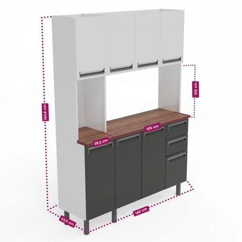 Imagem de Kit de Cozinha Colormaq Roma 7 Portas, 2 Gavetas e 1 Gavetão em Aço Grafito e Madeira