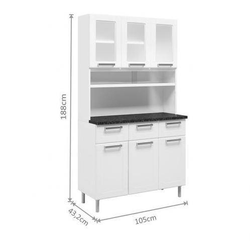Imagem de Kit de Cozinha em Aço Bertolini Com 6 Portas e 3 Gavetas - BRANCO