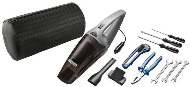 Imagem de Kit de ferramentas ideal para carro com aspirador de po portatil 70 w 12 v 9 pecas tramontina
