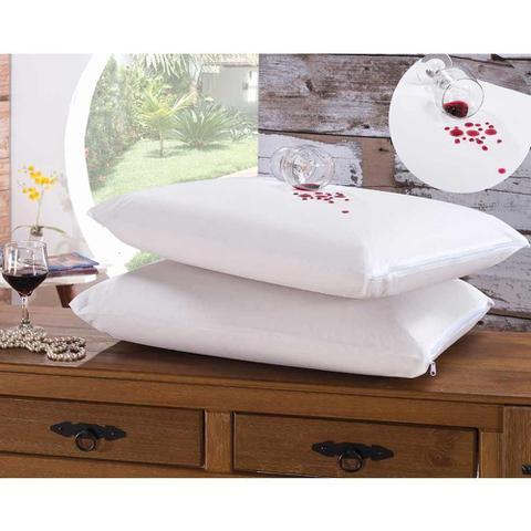 Imagem de Kit de Fronhas Impermeáveis Bia para Travesseiro 70cm x 50cm 04 Peças Com Zíper - Branco