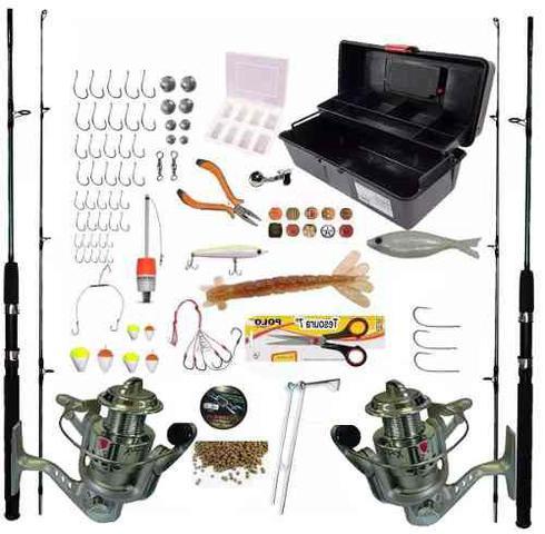 Imagem de Kit De Pesca Completo 2 Vara 1,70m 2 Molinete 3 Rol E Itens