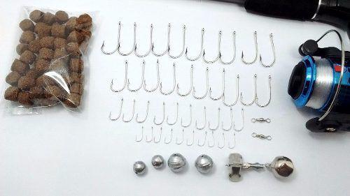 Imagem de Kit de Pesca Completo Barato Caixa Vara Molinete E Acessórios