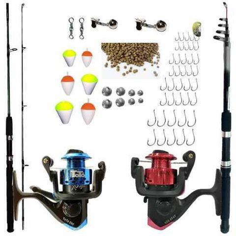 Imagem de Kit De Pesca Completo Vara 1,50m E 2,10m 2 Molinete E Itens