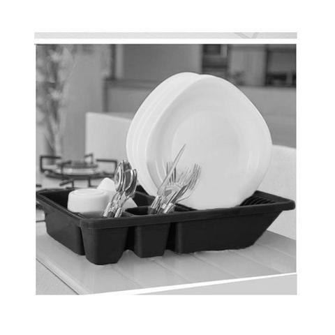 Imagem de Kit de Pia Escorredor de Louça e Lixeira 4l Preto 2 peças
