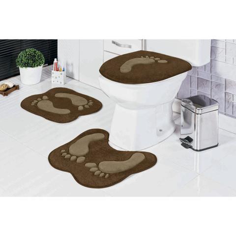 Imagem de Kit de Tapetes para Banheiro Antiderrapante 3 Peças Pegada