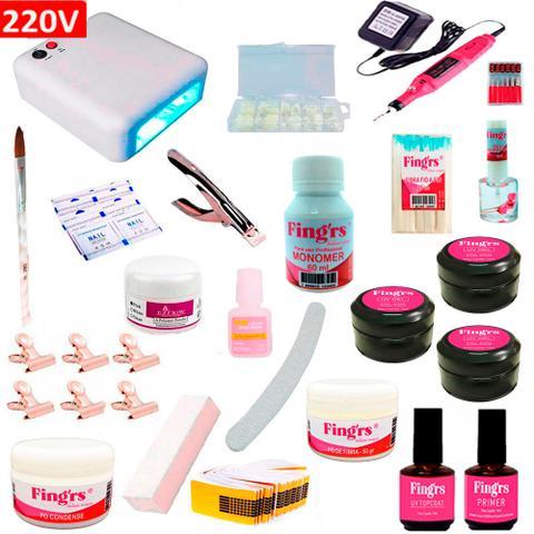 Imagem de Kit de Unha Gel Acrigel FINGRS Completo com Cabine 36w 220v + Lixa Eletrica + Fibra Vassourinha