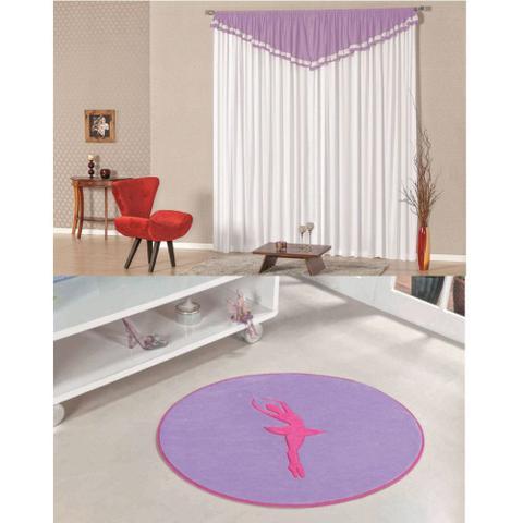 Imagem de Kit Decoração Bailarina p/ Quarto Infantil = Cortina Riviera 2 Metros + Tapete Pelúcia - Lilás