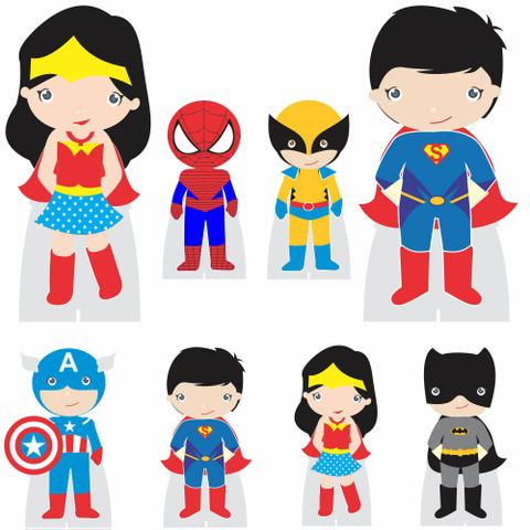 Imagem de Kit decoração de festa totem display -8pçs+painel - Heróis
