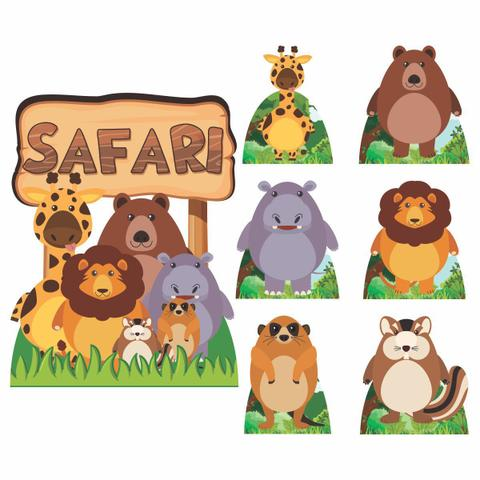 Imagem de Kit Decoração Festa Totem Display 8 peças Safari