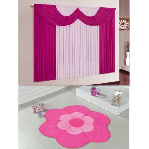 Imagem de Kit Decoração Mimos Quarto Infantil = Cortina Malha 2 Metros + Tapete Pelúcia Margarida Dupla - Pink