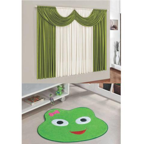 Imagem de Kit Decoração Mimos Quarto Infantil = Cortina Malha 2 Metros + Tapete Pelúcia Sapinha - Verde Pistache