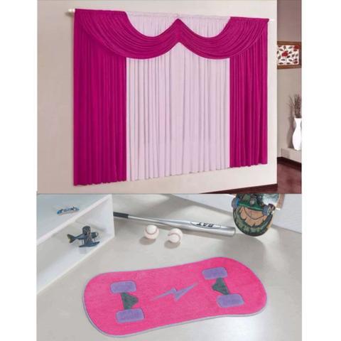 Imagem de Kit Decoração Mimos Quarto Menina = Cortina Malha 2 Metros + Tapete Pelúcia Skate - Pink