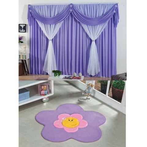 Imagem de Kit Decoração p/ Quarto Infantil = Cortina Jéssica 2 Metros + Tapete Pelúcia Menina Flor - Lilás