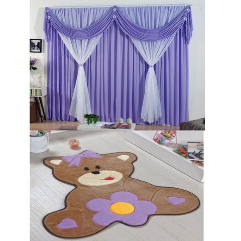 Imagem de Kit Decoração p/ Quarto Infantil = Cortina Jéssica 2 Metros + Tapete Pelúcia Ursa Baby - Lilás