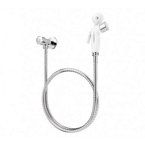 Imagem de Kit Ducha Higiênica Blukit com Crivo Branco Registro ABS com Flexível Inox de 1,20m