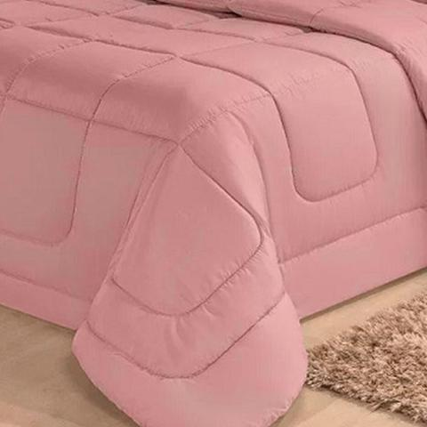 Imagem de Kit Edredom Aconchego Dupla Face Casal Queen 6 Pçs com Lençol Rosé