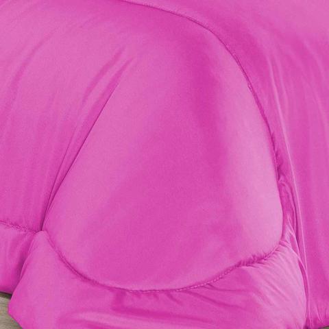 Imagem de Kit Edredom Dupla Face Casal Padrão Confortable + Jogo de Lençol - 06 Peças - Pink