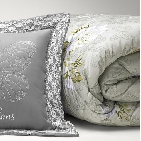 Imagem de Kit Edredom Queen Papillons 7 Peças Algodão 200 Fios Casaborda Cinza