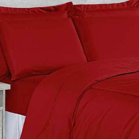 Imagem de Kit Edredom Soft Casa Dona Casal + 4 porta Travesseiros e Lençol Vermelho