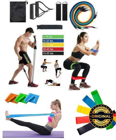 Imagem de Kit Elástico 11 Peças+ Mini Band 5 Exercicios Academia Treino Malhar Em Casa - Fitness Smart