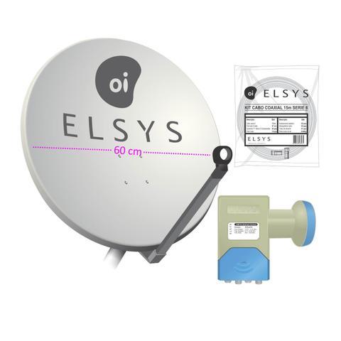 Imagem de Kit Elsys Oi Tv Livre Hd Antena Completa 75cm 17m Cabos Lnb Duplo