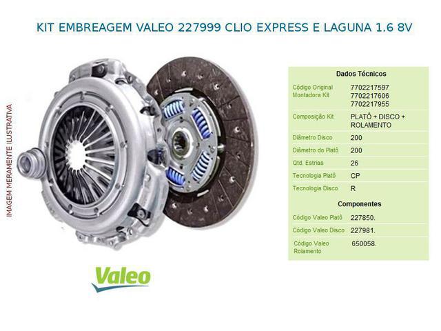 Imagem de Kit embreagem valeo 227999 clio express e laguna 1.6 8v