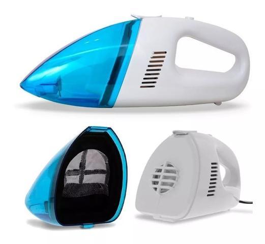 Imagem de Kit Emergência Carro: Mini Compressor de Ar 300 PSI Encher Pneu + Aspirador de Pó Portátil 60w P/ Limpeza Automotiva
