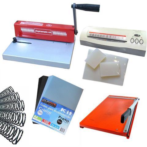 Imagem de Kit Encadernadora A4 + Plastificadora + Guilhotina + Insumos 220v