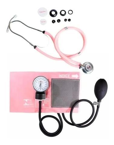 Imagem de Kit Enfermagem Acadêmico Esfigmomanômetro Estetoscópio Rosa