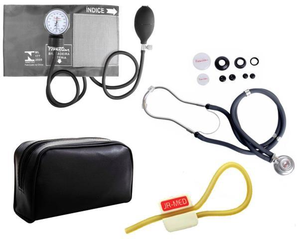 Imagem de Kit Enfermagem: Aparelho de Pressão com Estetoscópio Rappaport Grafite Premium + Garrote JRMED