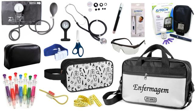 Imagem de Kit Enfermagem Aparelho Pressão com Estetoscópio Duplo Rappaport Premium Cores Completo + Bolsa e Necessaire JRMED + Medidor de Glicose - G-Tech