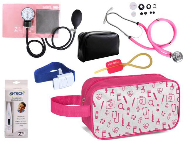 Imagem de Kit Enfermagem Aparelho Pressão com Estetoscópio Premium Rosa + Termômetro + Necessaire