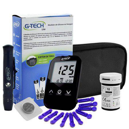 Imagem de Kit Enfermagem Aparelho Pressão com Estetoscópio Rappaport Premium Completo - Azul + Bolsa JRMED + Medidor de Glicose - G-Tech