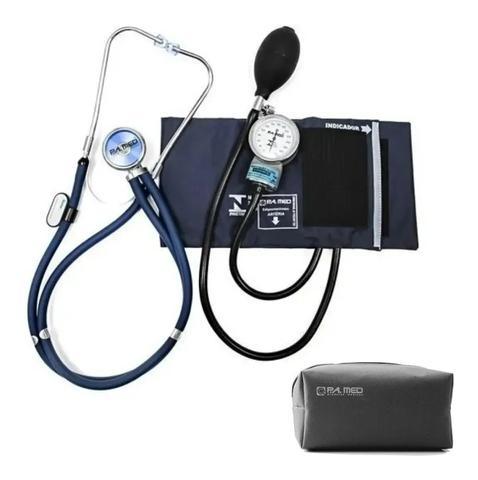 Imagem de Kit Enfermagem Esfigmomanometro Aparelho De Medir Pressão Arterial + Estetoscópio Rappaport Duplo  P. A. MED