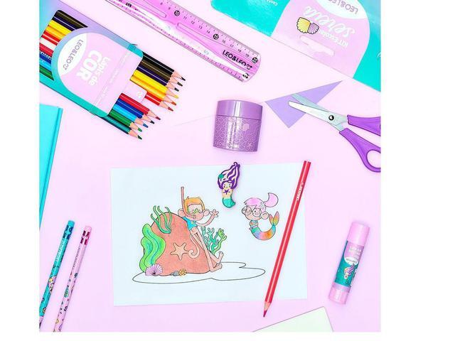 Imagem de Kit escolar com 8 peças sereia leoeleo - Leo&Leo