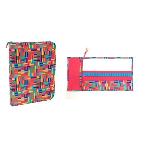 Imagem de Kit Escolar Fichário Estojo Rolo 21 Divisorias Colorido 2Pçs